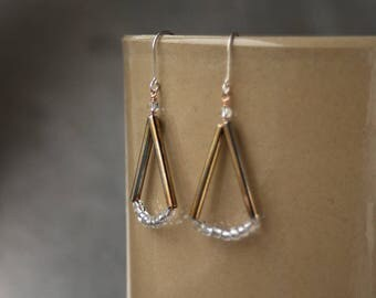 Vintage Czech glass & metal triangle drop earrings Mixed metal earrings .925 Sterling silver Bronze and brass Winter Jewelry Christmas party