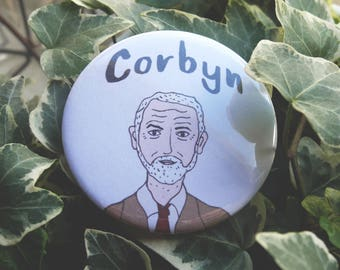 Jeremy Corbyn Badge | Corbyn Illustration Pin | LIMITED EDITION | 58MM Metal Badge