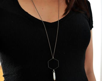 Geometric Necklace - Hexagon and Bullet Pendant - Modern Jewelry - Long Necklace - GIFT Ideas