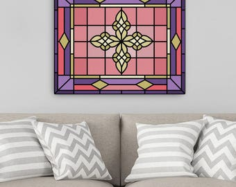 Home Decor Wall Art, Valentines Day Gift, Stained Glass Canvas Art, Living Room Art, House warming gift, Art Canvas, Geometric Art