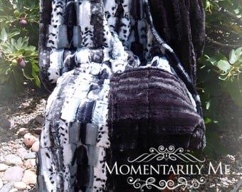 Adult Weighted Blanket 8-20 lbs  - Leopoard Minky/Luxe Black Cuddle Minky
