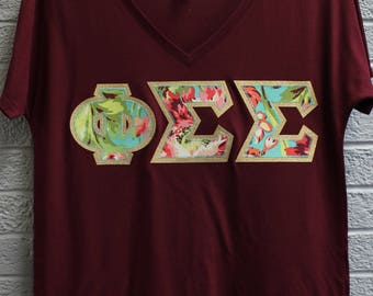 Phi Sigma Sigma Maroon Bella Flowy V-Neck With Amy Butler Bliss Bouquet on Gold Metallic (254C)