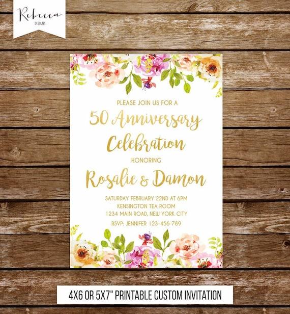 wedding anniversary invitation gold anniversary party 50th wedding