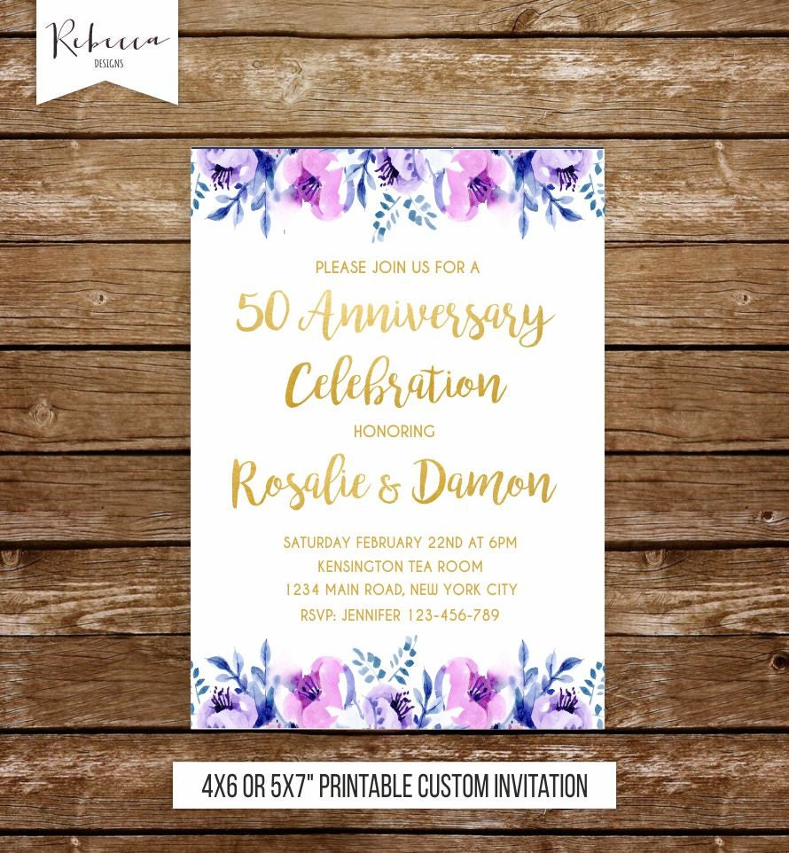 violets wedding anniversary invitation purple invitation party ...