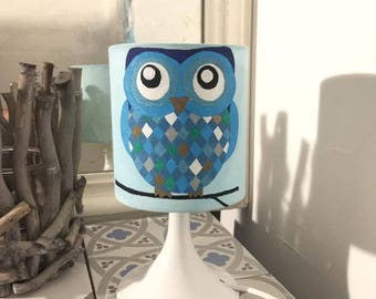 Blue lamp with Harlequin turquoise owls