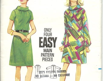 Butterick 4580 / UNCUT COMPLETE FF / Vintage 1960s Sewing Pattern for Women's A-line Dress / Bust 34 Size 14 Medium / Buttons Sleeves Belt