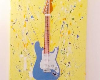 Guitar Wall Art, Fabric Wall Art, Music Art, Guitar Canvas, Blue Fender Guitar, Blue and Yellow Decor, Fender Guitar Decal