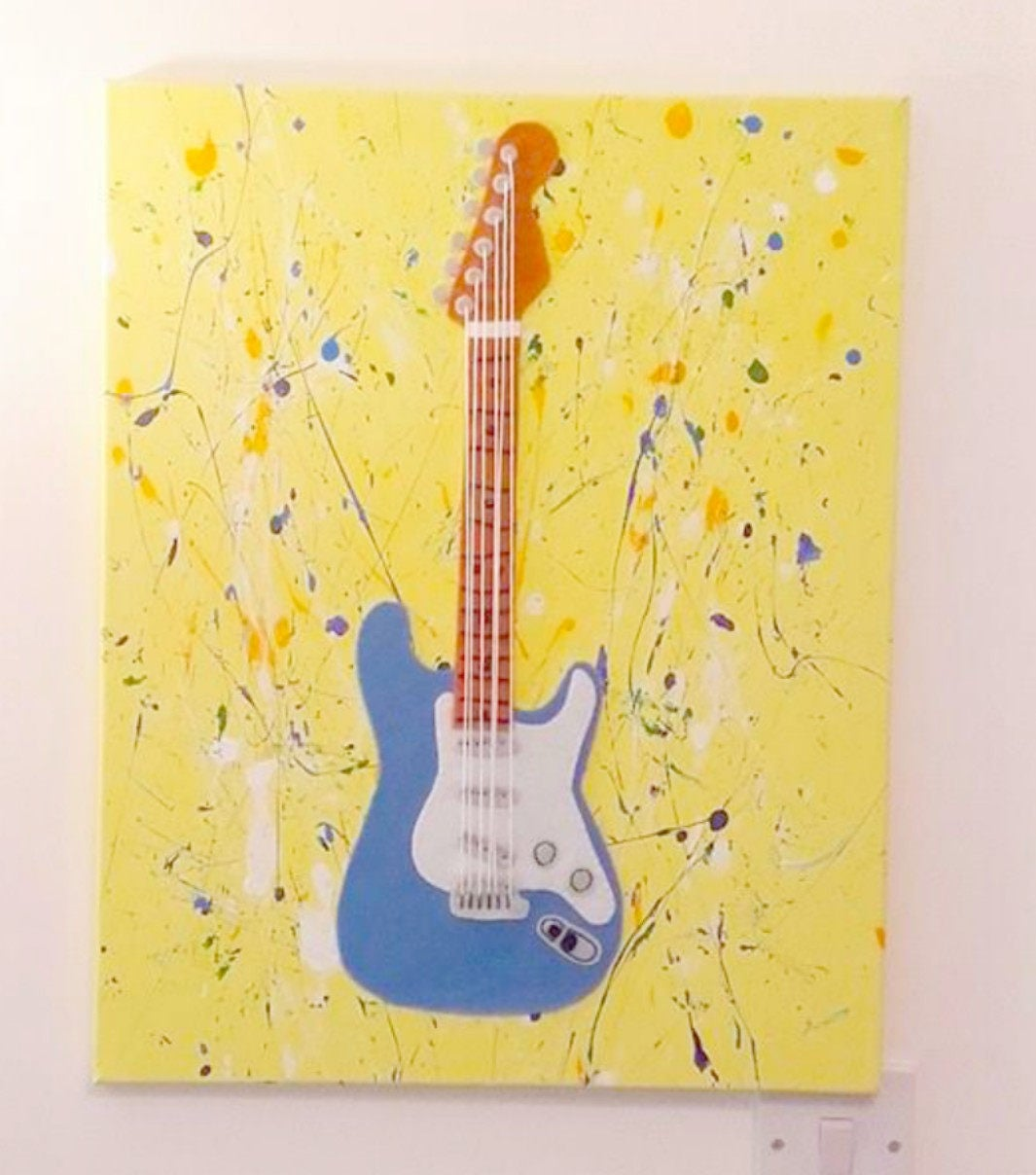 Guitar Wall Art, Fabric Wall Art, Music Art, Guitar Canvas, Blue ...