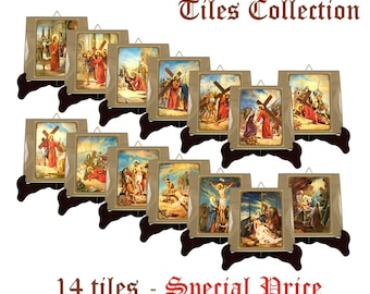 Via Crucis - Stations of the Cross ceramic tiles collection - religious art - catholic crafts - catholic cross 2 sizes available - holy art