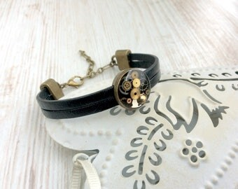 Leather Bracelet. Steampunk Bracelet. Real Leather. Black Bracelet. Leather Cuff. Cuff Bracelet. Steampunk Jewellery. Thick Leather. Unique
