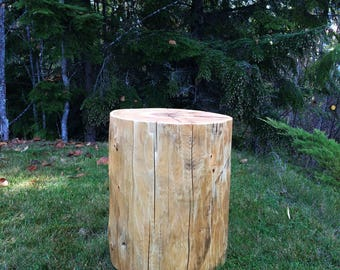 Reclaimed Cedar Stump   Small Size, Whitewashed Or Natural Finish Log Side  Table, Rustic