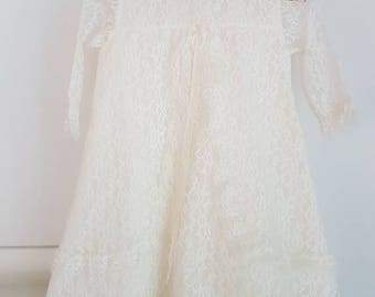 Vintage lace full length dress. Occasion dress.