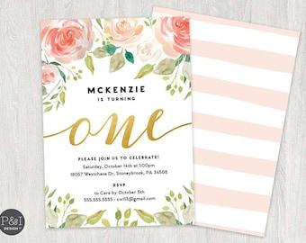 Floral 1st Birthday Invitation, Girl First Birthday Invitation, Watercolor Flowers, One Birthday Invitation Card, Printable, Digital File