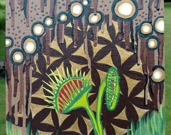 "Venus Fly Trap Painting, 8x10"" Artwork, Original Art, Original Acrylic Painting, Flower of Life Painting,"