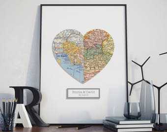 3D Personalized Map Art, Custom Wedding Gift, Anniversary Gift, Valentines Gift, Engagement, Heart Map Print, Custom Map, Any 2 Locations