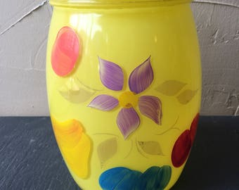 Retro Sunny Yellow Bartlett Collins Cookie Jar Floral & Fruits