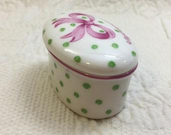 Polka Dot Trinket Box, Small Oval Trinket Box, Green Polka Dots, Pink Ribbon, To Grandmother, With a Hug and a Kiss, Grandmother Trinket Box