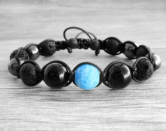 30th birthday gifts|for|husband gift ideas for dad bracelet Gemstone bracelet Black lava bracelet Mens bracelet Agate bracelet Boho bracelet
