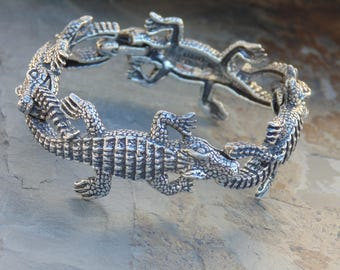 Kabana ~ Sterling Silver Heavy Detailed Alligator Link Bracelet - 55 Grams