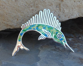 Fuentes ~ Vintage Sterling and Colorful Enamel Swordfish Pin / Brooch