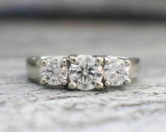 14K White Gold Three Stone Diamond Engagement Ring Wedding