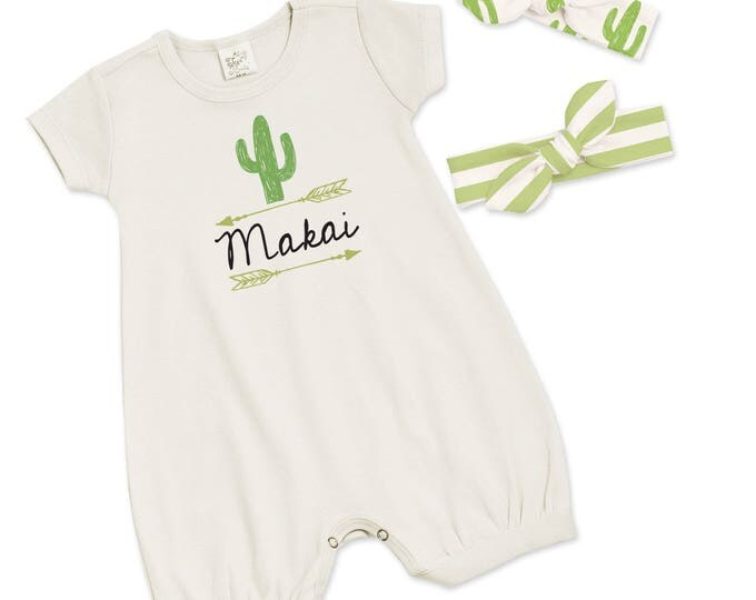 Special! Personalized Newborn Girl Coming Home Outfit with 2 Headbands, Monogrammed Newborn Girl Outfit, Baby Cactus Southwestern, TesaBabe