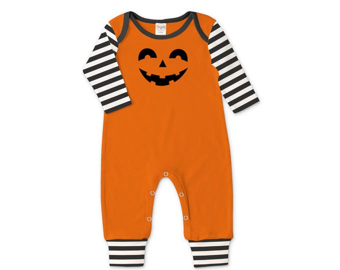 Baby Halloween Romper Black and Orange Pumpkin, Baby Unisex Costume Black and White, Jack O' Lantern, Tesababe 81OEIBSBK4C