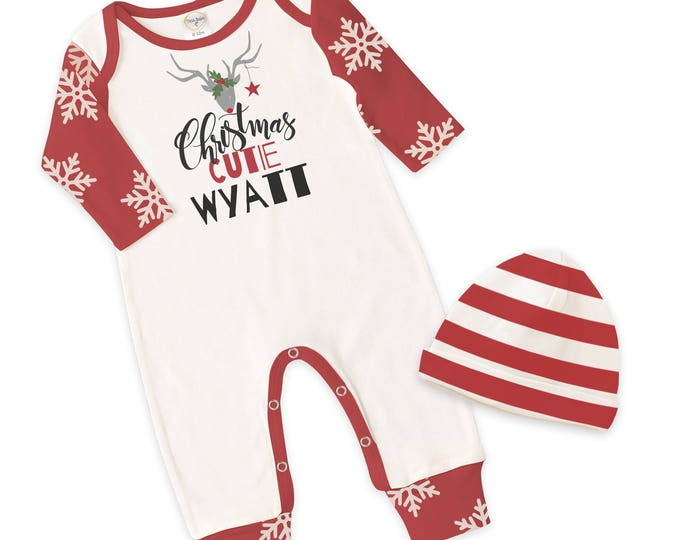 Christmas Baby Romper, Red Xmas Baby Outfit, Baby Christmas Onesie Romper, Red Snowflake Sleeves, Red Baby Hat, Tesa Babe