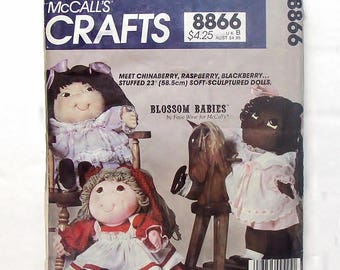 "Vintage 1983 McCall's  Sewing Pattern #8866 - Blossom Babies 23"" Soft Sculptured Dolls"