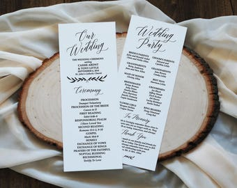 Rustic Wedding Program Template Programs