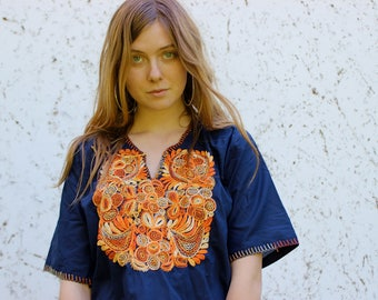 70's ethnic folk top embroidered blue and orange hippie 60s kaftan top