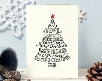 Luxury Traditional Hand lettered Christmas cards available as a single card or multipack