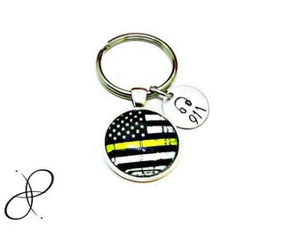 The Thin Gold Line, US Flag Keychain, 911 Headset | Dispatch & Communications Support, Hand Stamped Gift. 911 Dispatcher Gift, Dispatching