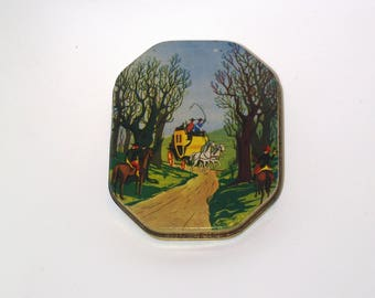 Polish Sweets Tin Box Vintage candy box Sweets Container Antique tin metal box tin for sweets Wid West collectible stagecoach assault soviet