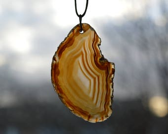 Natural Agate Slice Pendant