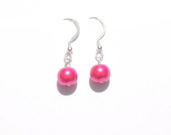 dangle earrings, pink earrings, pearl earrings, single pearl earrings, beaded earrings, bridesmaid earrings, wedding jewelry