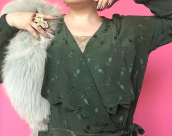 VOLUP 1920s Dress / 20s 30s Green Day Dress