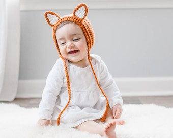 Baby Fox Hat, Crochet Fox Hat, Fox Bonnet, Newborn Fox Bonnet, Newborn Photography, Newborn Outfit, Photography Prop, Baby Costume, Fox Baby