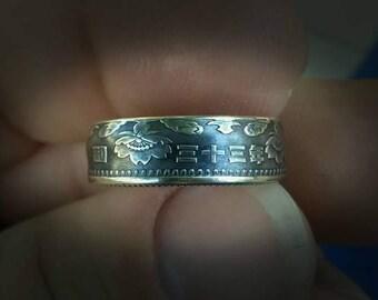 Silver Japanese 100 Yen Coin ring 1957-58