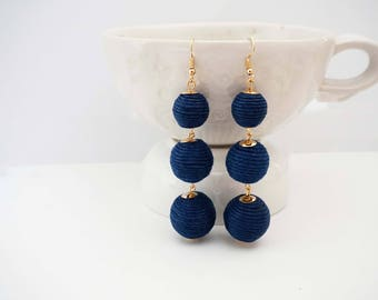 Navy Blue and Gold Ball Statement Earrings