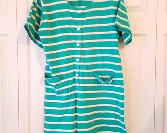 VTG 90s LAURA ASHLEY womens green & white short sleeved pocketed romper M/L vintage striped short sleeved romper pocketed romper