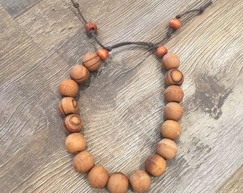 Meditation Beads, Prayer Beads, Intention Beads in Olivewood - Adjustable cord