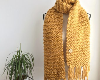 READY TO SHIP Mustard yellow extra long fringed super scarf, fringe, fringed scarf, extra long scarf, open scarf, cozy scarf, knit wool scar