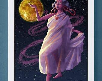 Venus, art print, planet art, science art, children's art, roman gods, 4X6, 5X7, 8X10