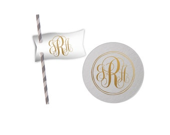 Personalized straw flags Custom straw tags Monogrammed straw flag party straws monogrammed coasters custom paper coasters wedding coaster
