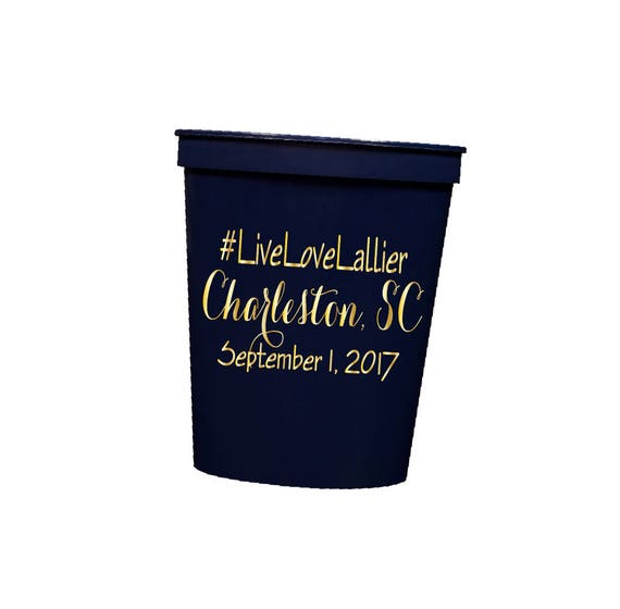 Hashtag Personalized Wedding Cups