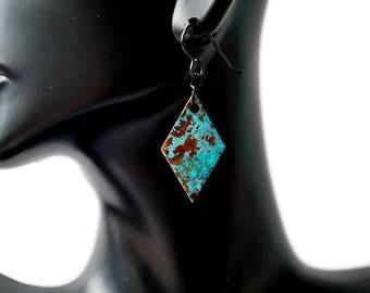 Geometric earrings, Mismatched Earrings, ocean earrings, blue patina, rustic earrings, diamond earrings, modern earrings, boho style