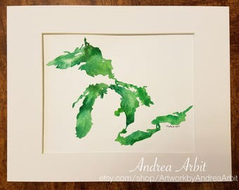 "8""x10"" Original Watercolor Painting - ""The Great Lakes in Green II"""