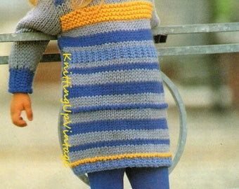 Knitting Pattern PDF Girls Chunky Dress 22-27""