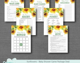 Sunflowers Baby Shower Game Package Deal Printable, Bundle, Set, Savings, Sale, Instant Download, Yellow, Green, Boy, Girl, 1A
